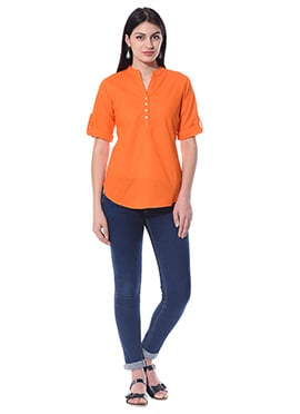 Orange Blended Cotton Top