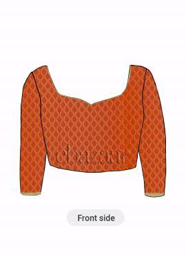 Orange Brocade Blouse