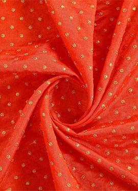 Orange Brocade Fabric