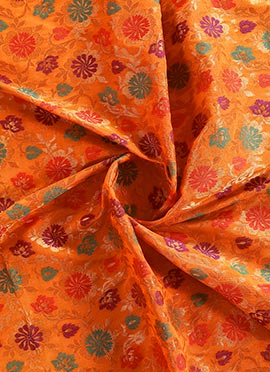 Orange Brocade Fabric