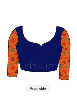 Orange Brocade Long Sleeve Blouse