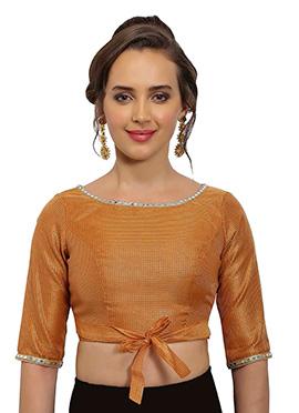 Orange Chanderi Art Silk Blouse