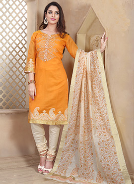 Orange Chanderi Art Silk Churidar Suit