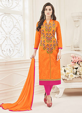 Orange Chanderi Art Silk Churidar Suit