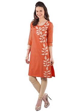 Orange Chanderi Art Silk Kurti