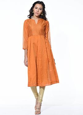 Orange Chanderi Blended Cotton Flared Kurti