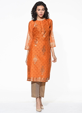Orange Chanderi Blended Cotton Kurti
