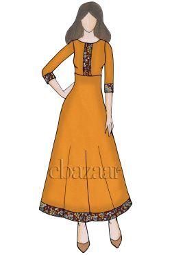Orange Chanderi Cotton Anarkali Kurti