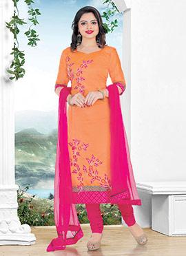 Orange Chanderi Cotton Churidar Suit