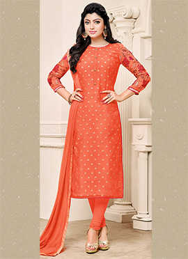 Orange Chanderi Cotton Churidar Suit
