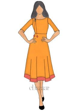 Orange Chanderi Cotton Knee length Kurti