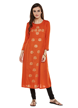 Orange Chanderi Cotton Kurti