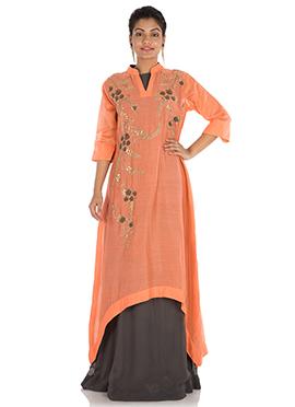 Orange Chanderi Cotton Kurti