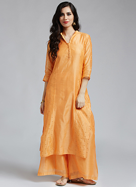 Orange Chanderi Cotton Palazzo Suit