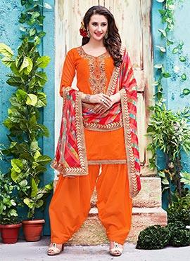 Orange Chanderi Cotton Salwar Suit