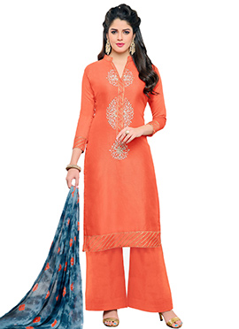 Orange Chanderi Silk Churidar Suit