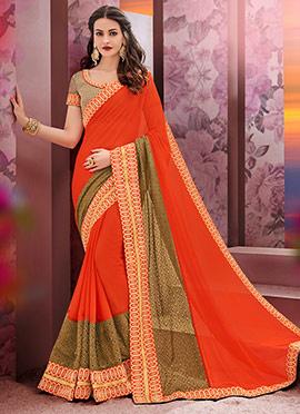 Orange Chiffon Net Saree