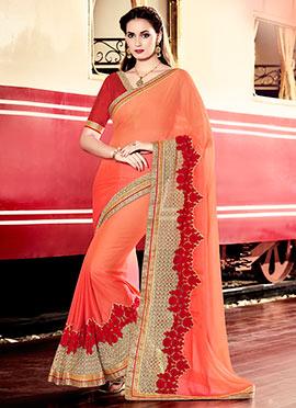 Orange Chiffon Saree