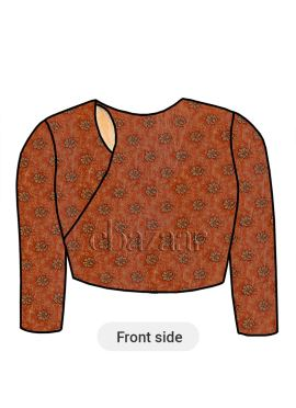 Orange Close Neck Embroidered Blouse