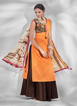 Orange Cotton A Line Lehenga