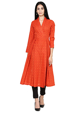Orange Cotton Anarkali Shape Kurti