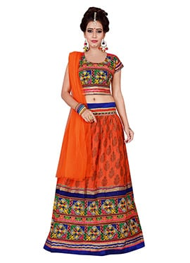 Orange Cotton Chaniya Choli