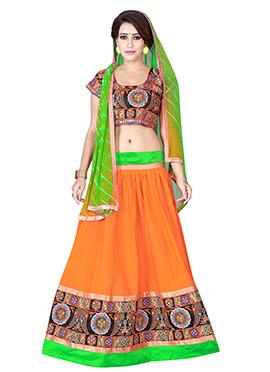 Orange Cotton Chaniya Choli Lehenga