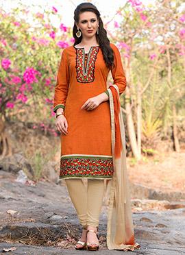 Orange Cotton Churidar Suit