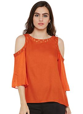 Orange Cotton Cold Shoulder Top