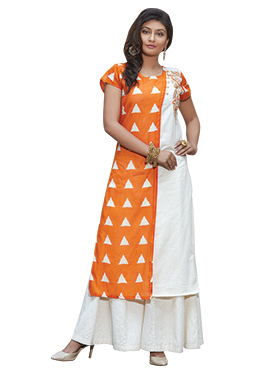 Orange Cotton Embroidered Long Kurti
