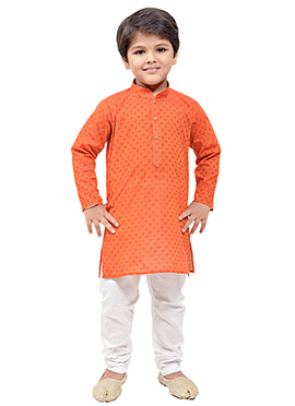 Orange Cotton Kids Kurta Pyjama