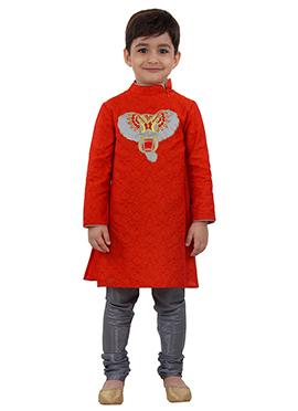 Orange Cotton Kids Kuta Pyjama