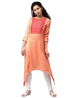 Orange Cotton Long Kurti