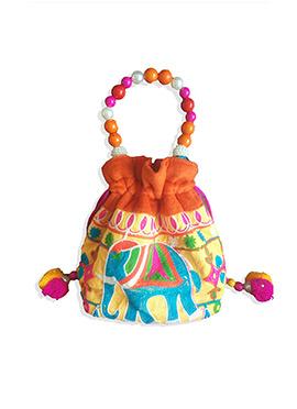 Orange Cotton N Velvet Potli Bag