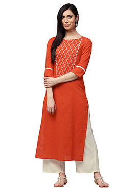 Orange Cotton Palazzo Set
