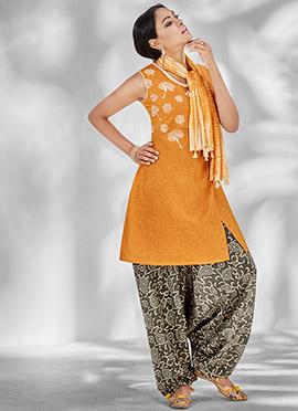Orange Cotton Patiala Suit