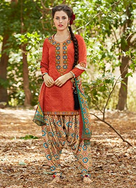 Orange Cotton Patiala Suit