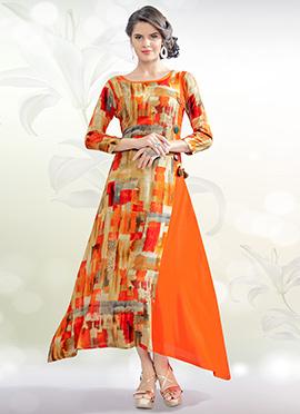 Orange Cotton Rayon Tunic