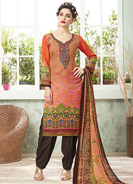 Orange Cotton Salwar Suit
