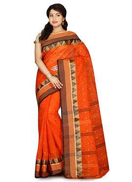 Orange Bengal Handloom Tant Saree
