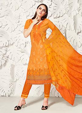 Orange Cotton Satin Straight Pant Suit