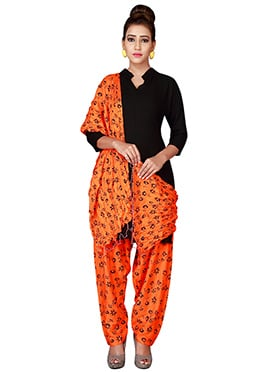 Orange Cotton Semi Patiala Pant