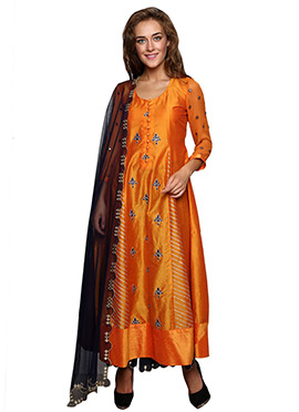 Orange Cotton Silk Palazzo Silk