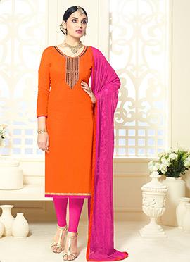 Orange Cotton Silk Straight Suit