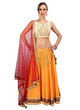 Orange Cotton Silk Umbrella Lehenga