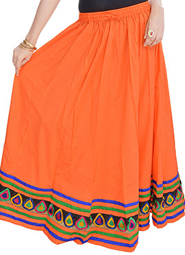 Orange Cotton Skirt
