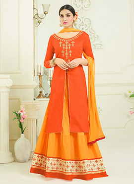 Orange Cotton Umbrella Lehenga