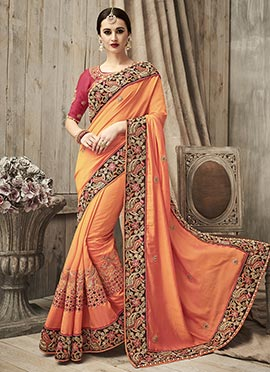 Orange Crepe Velvet Saree