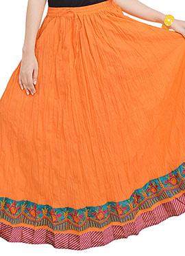 Orange Crushed Cotton Skirt