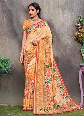 Orange Digital Printed Floral Tussar Silk